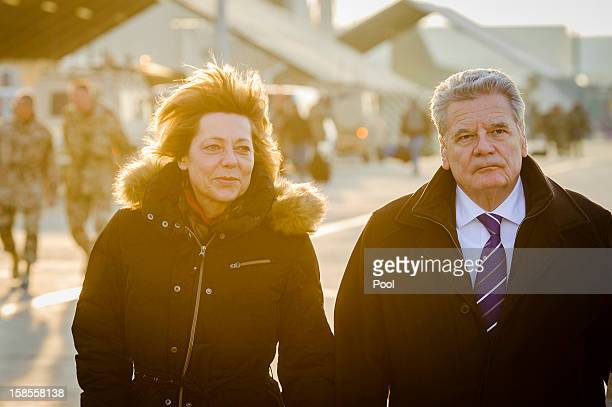 In this photo provided by the German Government Press Office German President Joachim Gauck and his partner Daniela Schadt are seen during a tour of...