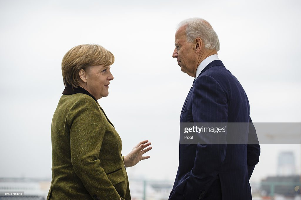 In this photo provided by the German Government Press Office (BPA) German Chancellor Angela Merkel (L) speaks with US Vice President Joe Biden at the start of their meeting at the Chancellery on February 01, 2013 in in Berlin, Germany. The Munich Security Conference is attended by international security policy decision-makers from around the world to engage in debate on current and future security issues faced globally.