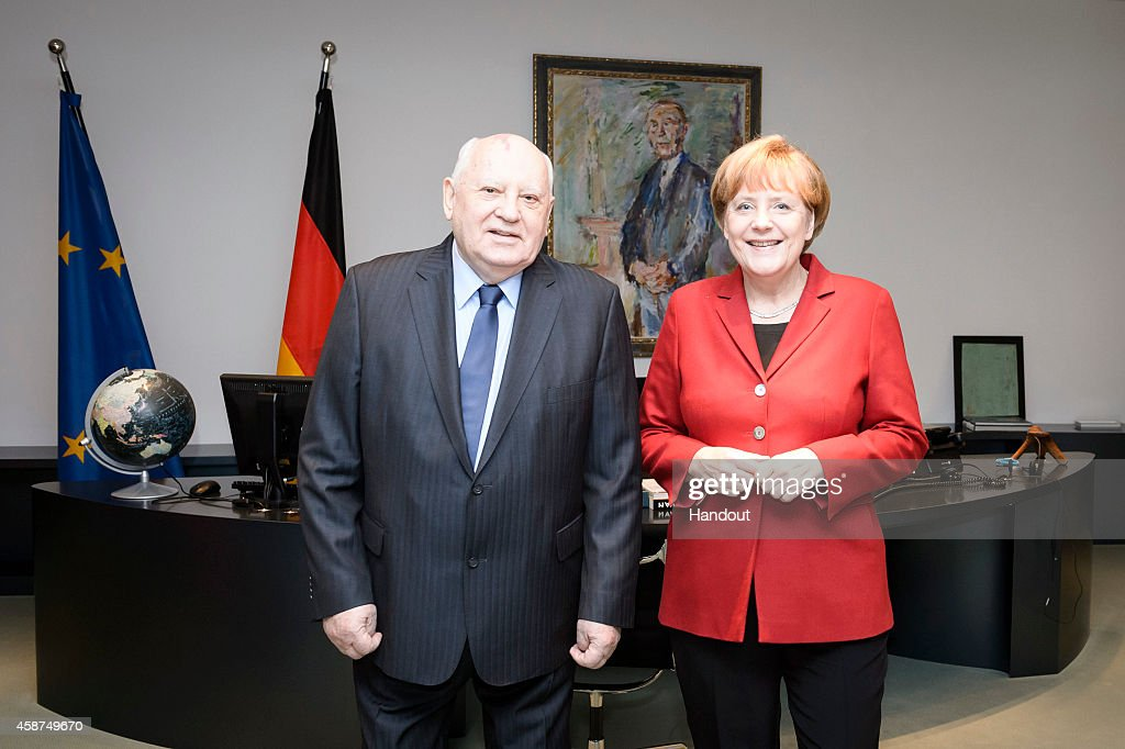 In this photo provided by the German Government Press Office (BPA) German Chancellor <a gi-track='captionPersonalityLinkClicked' href=/galleries/search?phrase=Angela+Merkel&family=editorial&specificpeople=202161 ng-click='$event.stopPropagation()'>Angela Merkel</a> (R) meets with former President of the Soviet Union <a gi-track='captionPersonalityLinkClicked' href=/galleries/search?phrase=Mikhail+Gorbachev&family=editorial&specificpeople=93773 ng-click='$event.stopPropagation()'>Mikhail Gorbachev</a> at the Chancellery on November 10, 2014 in in Berlin, Germany.