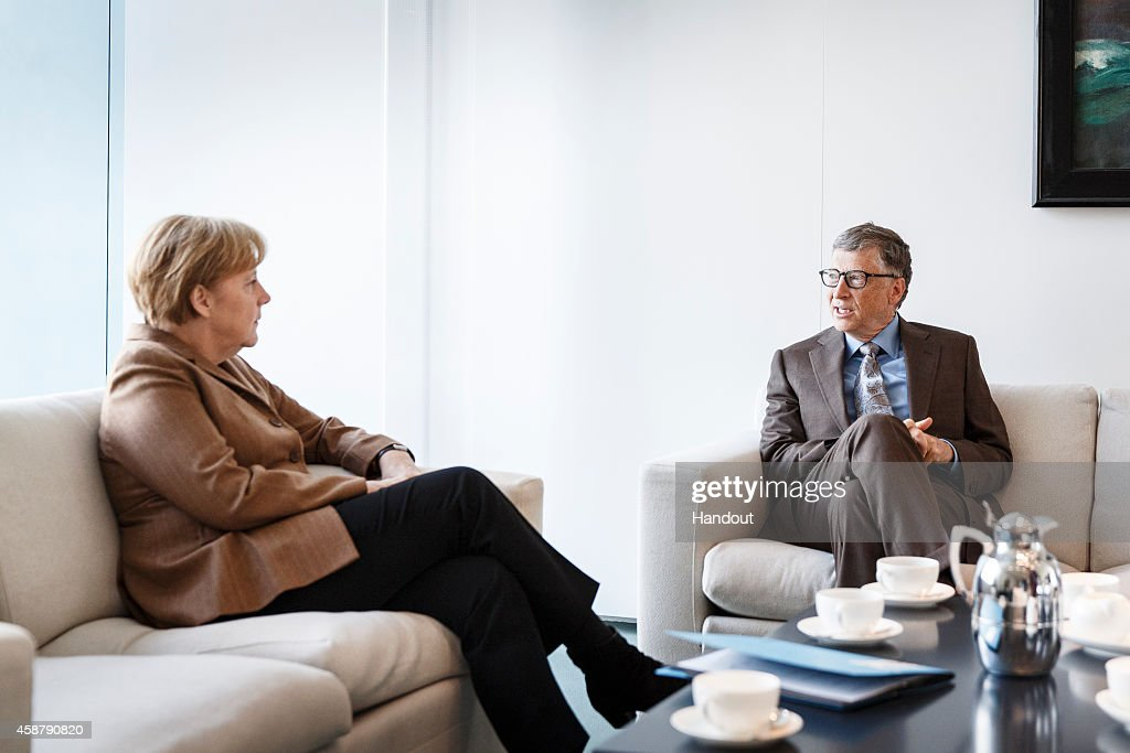 In this photo provided by the German Government Press Office German Chancellor Angela Merkel talks with Microsoft founder Bill Gates at the...