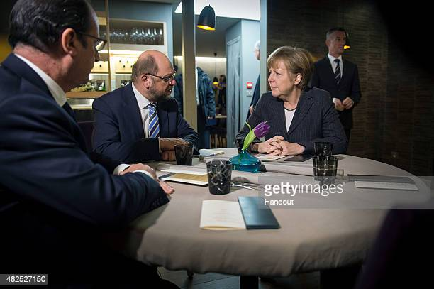In this photo provided by the German Government Press Office German Chancellor Angela Merkel President of the European Parliament Martin Schulz and...