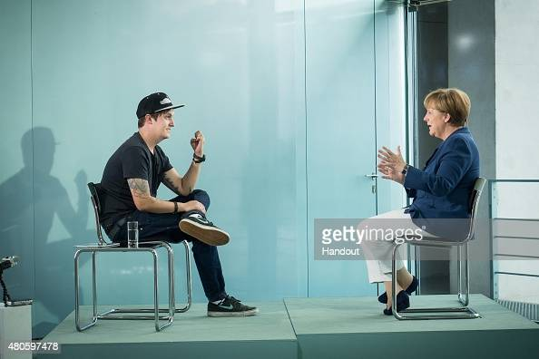 In this photo provided by the German Government Press Office German Chancellor Angela Merkel is interviewed by Florian Mundt also known as LeFloid at...