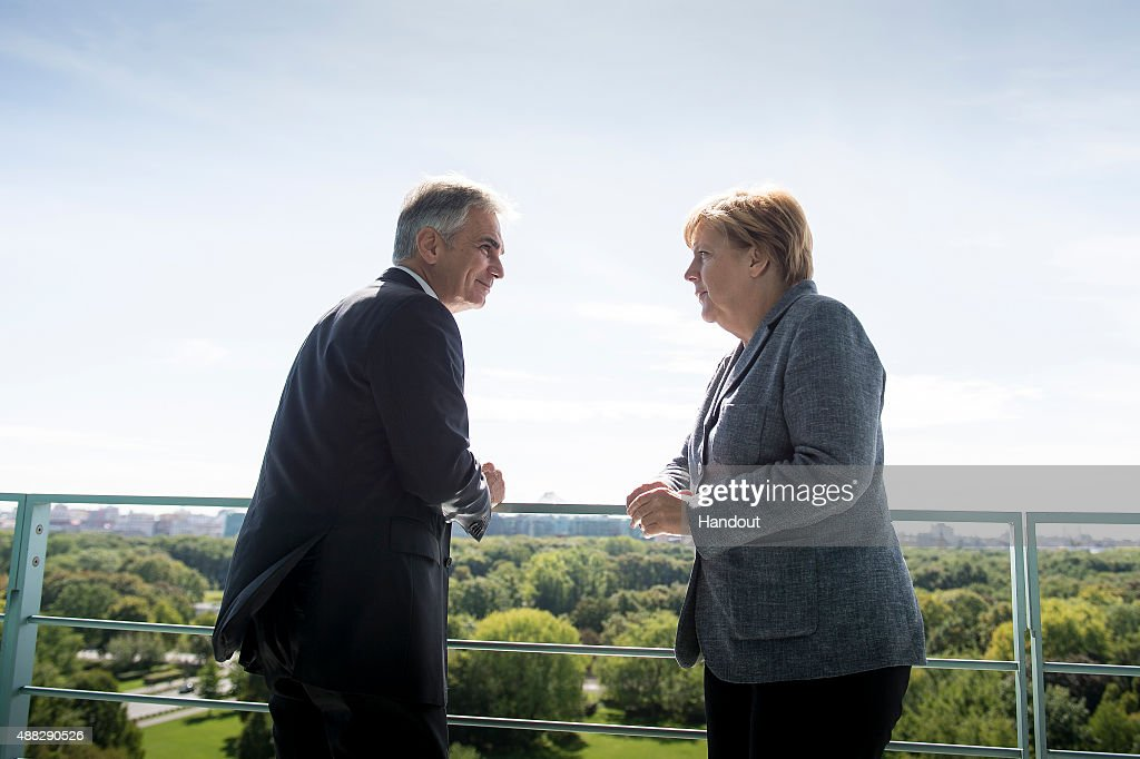 In this photo provided by the German Government Press Office German Chancellor Angela Merkel meets with Werner Faymann at the Federal Chancellery in...
