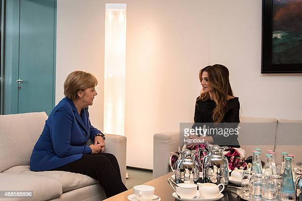 In this photo provided by the German Government Press Office German Chancellor Angela Merkel meets Queen Rania of Jordan for political talks in her...