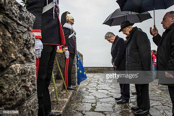 In this photo provided by the German Government Press Office Italian President Giorgio Napolitano and and his German counterpart Joachim Gauck pay...