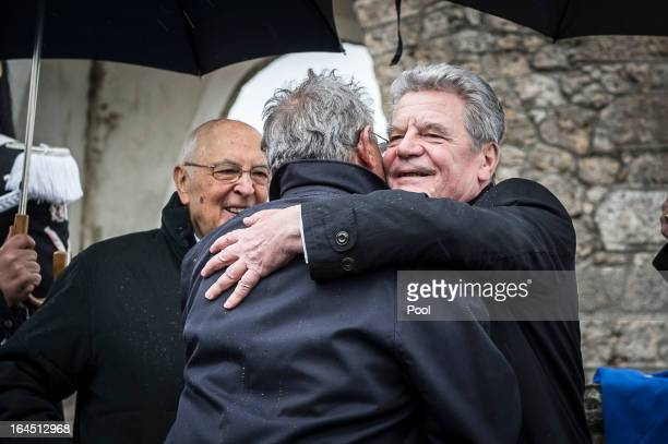 In this photo provided by the German Government Press Office Italian President Giorgio Napolitano looks on as his German counterpart Joachim Gauck...