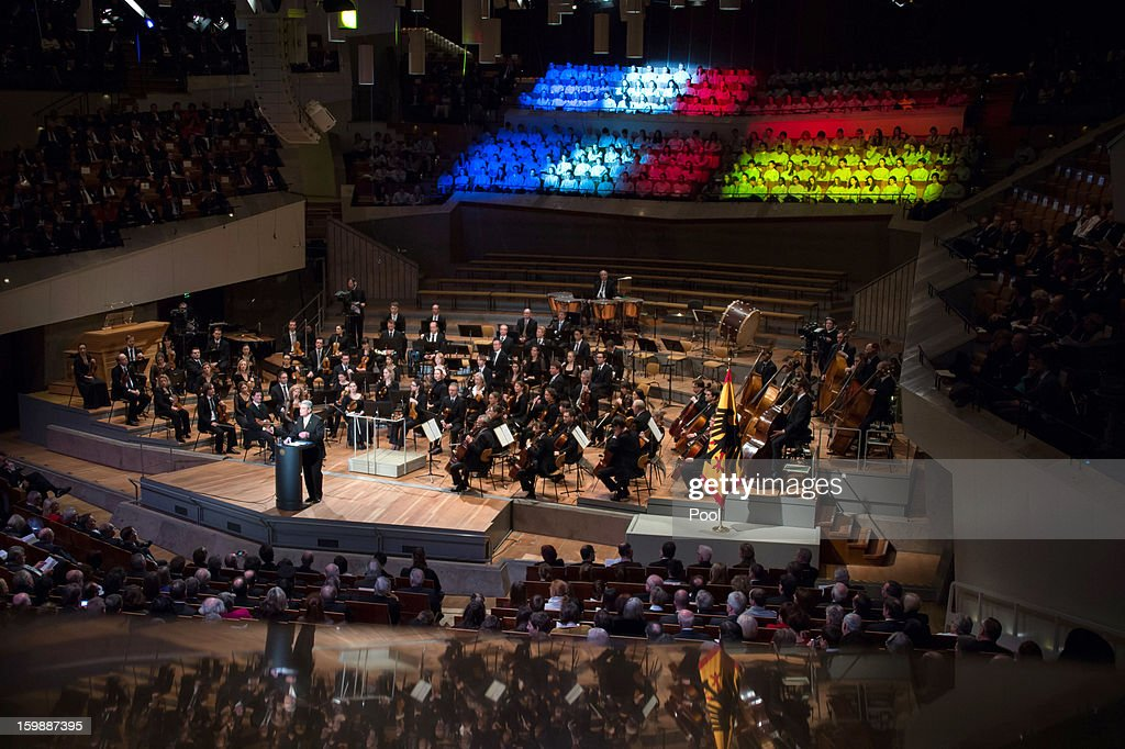 In this photo provided by the German Government Press Office (BPA), President Joachim Gauch makes a speech during a concert at the Berliner Philharmonie to celebrate the 50th Anniversary of the Elysée Treaty, on January 22, 2013 in Berlin, Germany. The Élysée Treaty was signed in 1963 and heralded a period of reconcilliation and cooperation between Germany and France following World War II.