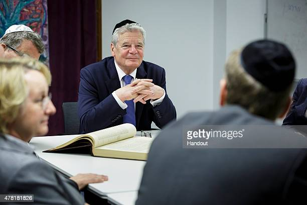 In this photo provided by the German Government Press Office Bundespresident Joachim Gauck visits the prayer room of the University Heidelberg Talmud...