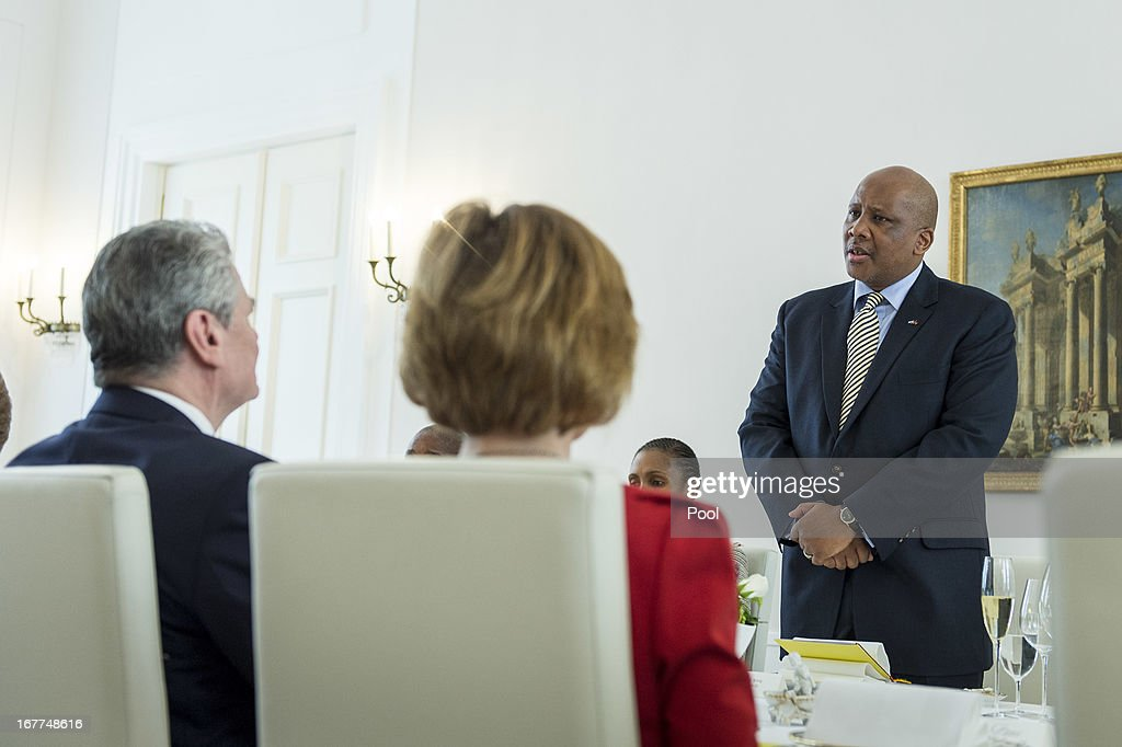 In this photo provided by the German Government Press Office (BPA), King <a gi-track='captionPersonalityLinkClicked' href=/galleries/search?phrase=Letsie+III&family=editorial&specificpeople=572600 ng-click='$event.stopPropagation()'>Letsie III</a> of Lesotho holds a speech during a lunch given for him by German President <a gi-track='captionPersonalityLinkClicked' href=/galleries/search?phrase=Joachim+Gauck&family=editorial&specificpeople=2077888 ng-click='$event.stopPropagation()'>Joachim Gauck</a> (L) at the Schinkelsaal of the Bellevue Palace on April 29, 2013 in Berlin, Germany.