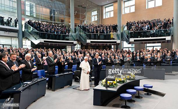 In this photo provided by the German Government Press Office Pope Benedict XVI accompanied by German President Christian Wolff arrives to give a...