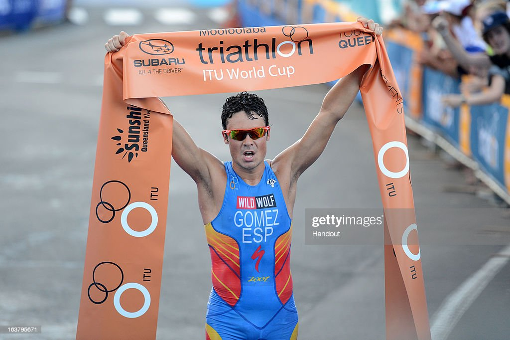In this photo provided by the International Triathlon Union, Javier Gomez of Spain celebrates taking gold during the men's elite race at the 2013 Mooloolaba ITU Triathlon World Cup, his 13th World Cup title, on March 16, 2013 in Mooloolaba, Australia. (Photo by Delly Carr/ITU via Getty Images).