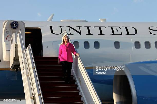 In this photo provided by the US State Department US Secretary of State Hillary Clinton arrives November 30 2011 in Naypyidaw Myanmar Prior to...