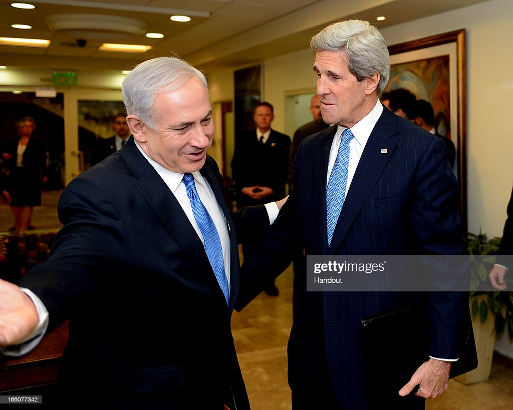 In this photo provided by the U.S. State Department, U.S. Secretary of State <a gi-track='captionPersonalityLinkClicked' href=/galleries/search?phrase=John+Kerry&family=editorial&specificpeople=154885 ng-click='$event.stopPropagation()'>John Kerry</a> meets with Israeli Prime Minister <a gi-track='captionPersonalityLinkClicked' href=/galleries/search?phrase=Benjamin+Netanyahu&family=editorial&specificpeople=118594 ng-click='$event.stopPropagation()'>Benjamin Netanyahu</a> in his office on April 8, 2013 in Jerusalem, Israel. Secretary Kerry is in the region to meet with Israeli and Palestinian officials in an attempt to help restart the peace process.