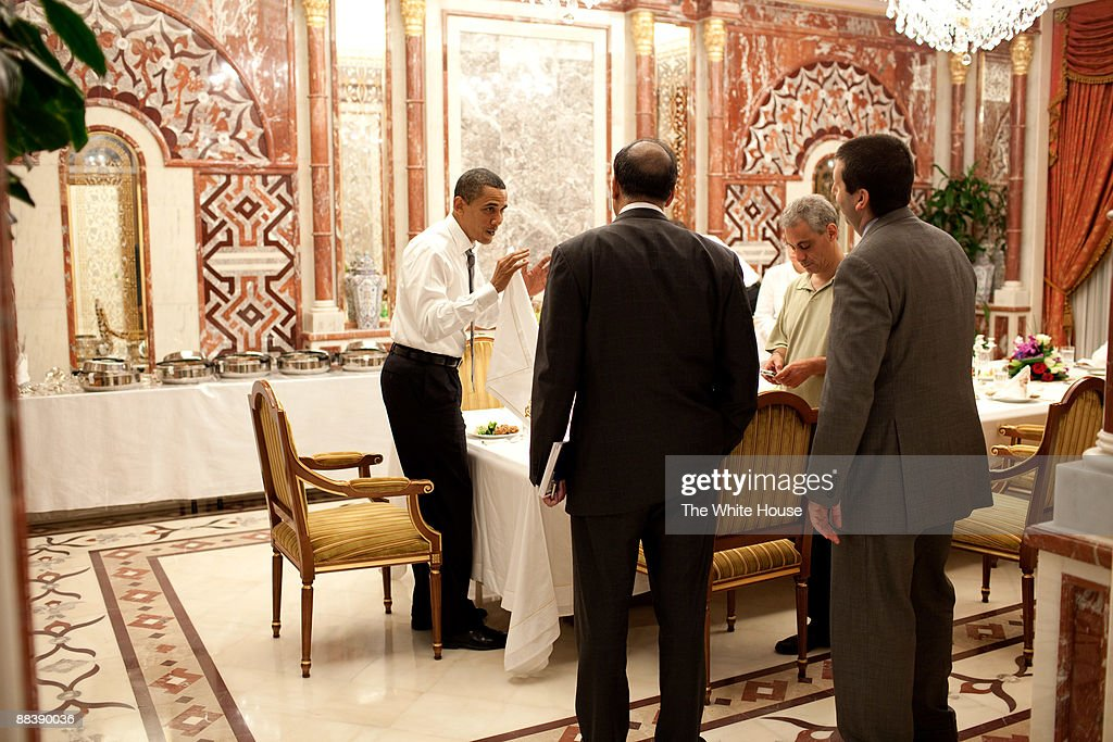 In this photo provided by The White House, President <a gi-track='captionPersonalityLinkClicked' href=/galleries/search?phrase=Barack+Obama&family=editorial&specificpeople=203260 ng-click='$event.stopPropagation()'>Barack Obama</a> meets with senior staff including NSC Chief of Staff <a gi-track='captionPersonalityLinkClicked' href=/galleries/search?phrase=Mark+Lippert&family=editorial&specificpeople=5797334 ng-click='$event.stopPropagation()'>Mark Lippert</a> and Chief of Staff <a gi-track='captionPersonalityLinkClicked' href=/galleries/search?phrase=Rahm+Emanuel&family=editorial&specificpeople=753774 ng-click='$event.stopPropagation()'>Rahm Emanuel</a> June 3, 2009 in Riyadh, Saudi Arabia.