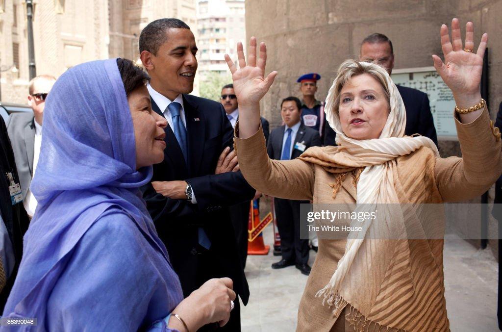In this photo provided by The White House President Barack Obama Senior Advisor Valerie Jarrett and Secretary of State Hillary Clinton tour the...