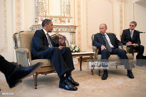 In this photo provided by The White House US President Barack Obama talks with Russian Prime Minister Vladimir Putin at his dacha on July 07 2009 in...