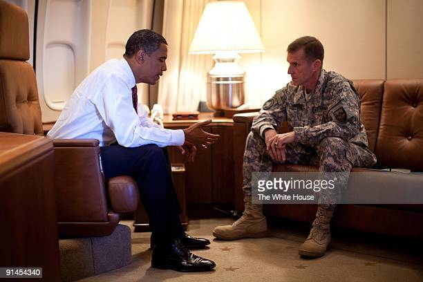 In this photo provided by The White House US President Barack Obama meets with General Stanley McChrystal Commander of US Forces in Afghanistan...
