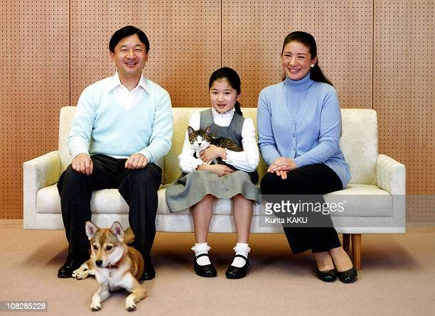 In this photo released by the Imperial Household Agency Crown Prince Naruhito Crown Princess Masako and their daughter Princess Aiko pose at their...