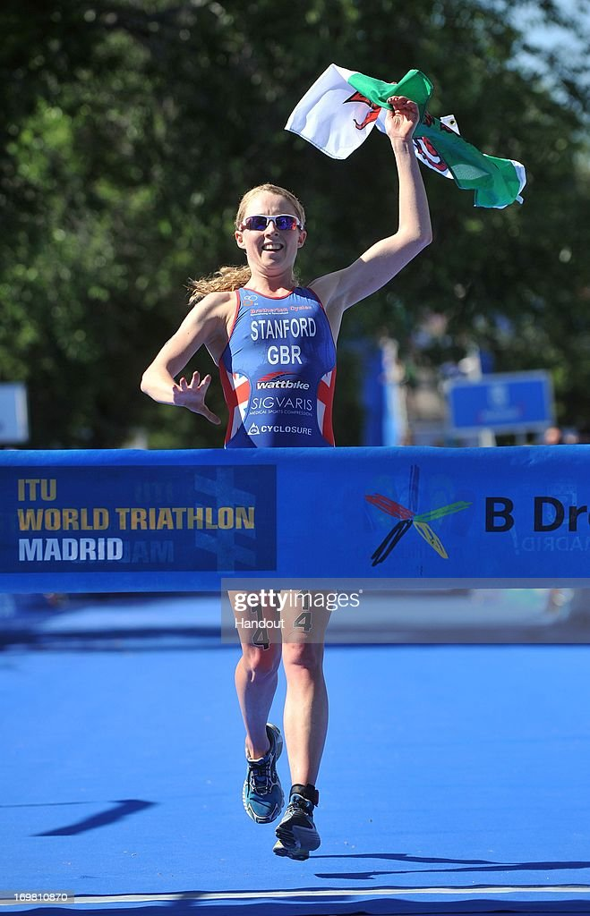 In this photo released by the International Triathlon Union, Great Britain's Non Stanford wins her first World Triathlon Series title in Madrid on June 1, 2013 in Madrid, Spain.