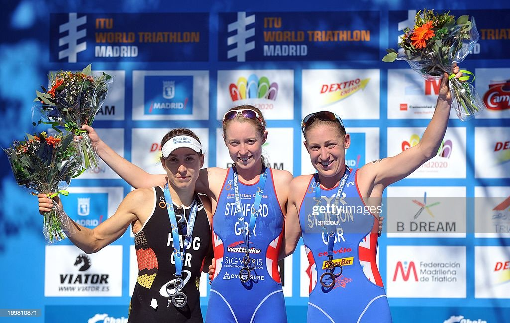 In this photo released by the International Triathlon Union, Non Stanford of Great Britain (C) , Anne Haug of Germany (L), and Jodie Stimpson of Great Britain (R) celebrate their podium finishes at the ITU World Triathlon Series on June 1, 2013 in Madrid, Spain.