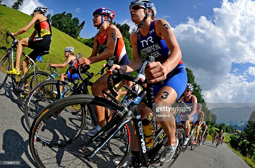 In this photo released by the International Triathlon Union, the elite women including winner Jodie Stimpson of Great Britain climb the steep hill on Kitzbuehler Horn during the 2013 International Triathlon Union World Triathlon Series July 6, 2013 in Kitzbuehel, Austria.