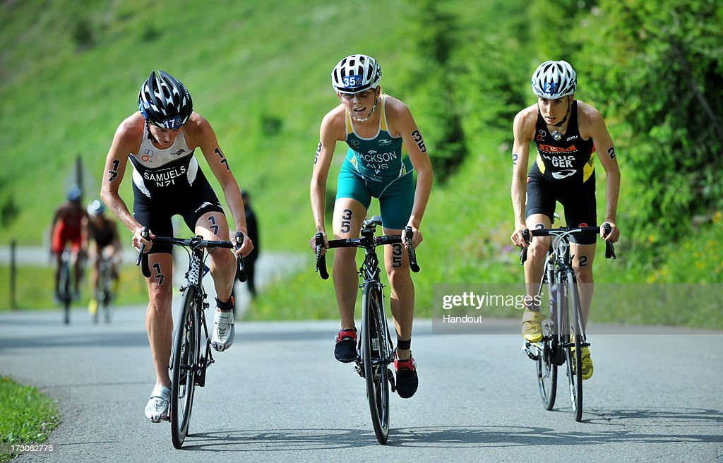 In this photo released by the International Triathlon Union, three elite women, (L-R) Nicky Samuels of New Zealand, Emma Jackson of Australia and Anne Haug of Germany battle it out for the podium during the 2013 International Triathlon Union World Triathlon Series July 6, 2013 in Kitzbuehel, Austria.