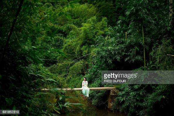 TOPSHOT In this photo taken on July 31 a tourist poses on a bamboo trunk over a river at the Yibin bamboo forest where bamboo liqueur is made by...