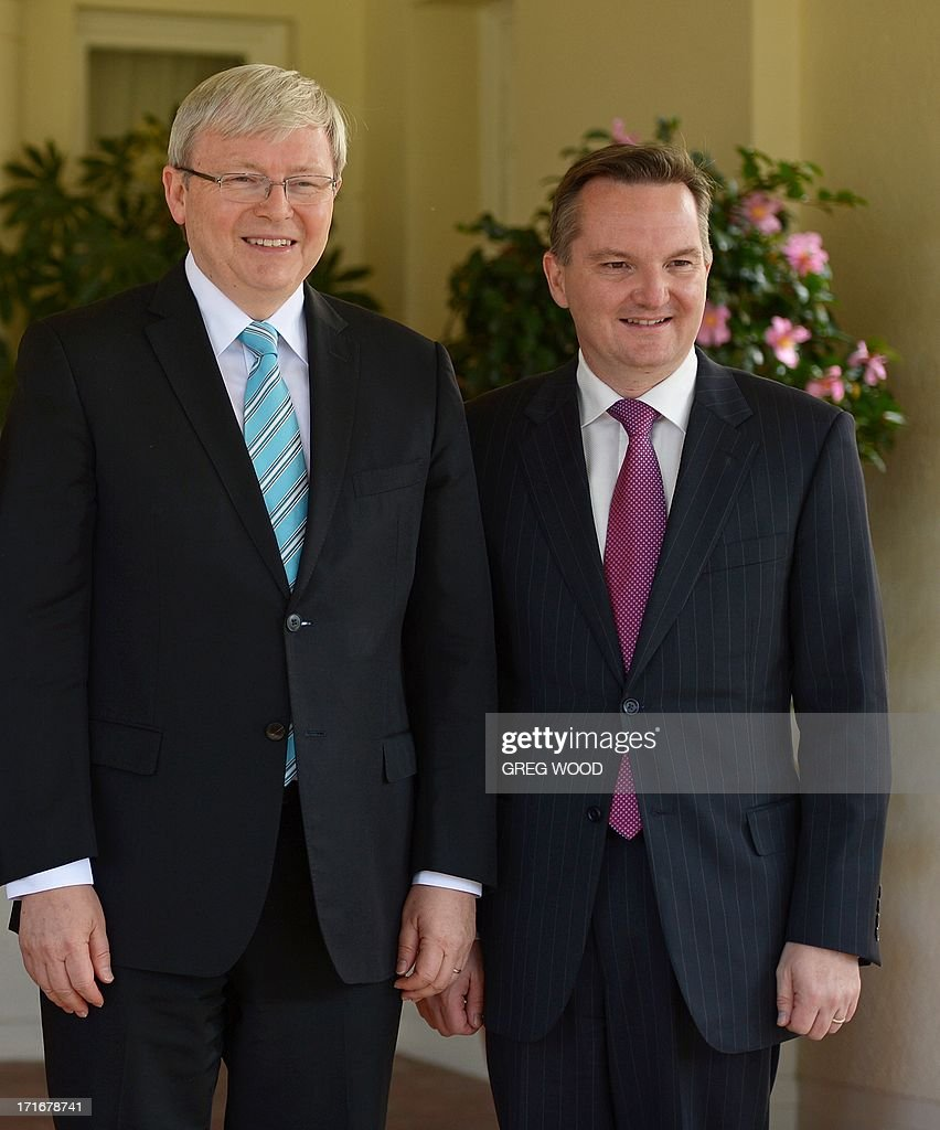 In this photo taken on June 27, 2013 Australia's new Treasurer Chris Bowen (R) stands alongside new Australian Prime Minister Kevin Rudd (L) following a swearing in at Government House in Canberra. Bowen was on June 28 welcomed by business figures as he hinted at policy changes amid recession fears following an unprecedented Asia-mining boom. AFP PHOTO / Greg WOOD