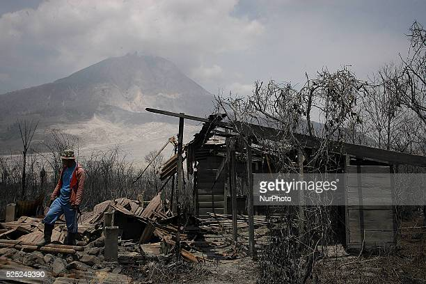 In this photo taken on March 7 A resident saw houses that lay in ruins as a result of a series of volcanic eruptions of Mount Sinabung after this...