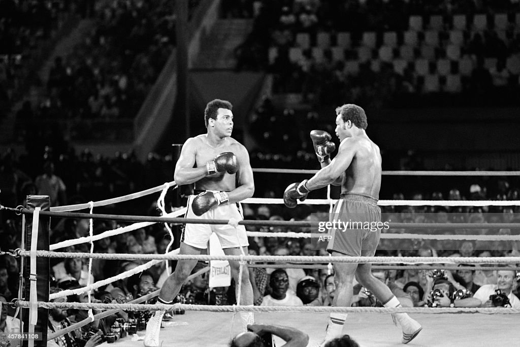 In this photo taken on October 30 1974 shows the fight between US boxing heavyweight champions Muhammad Ali and George Foreman in Kinshasa On October...