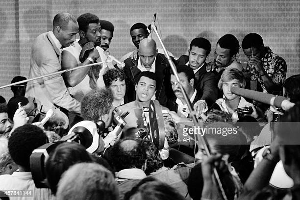 In this photo taken on October 30 1974 shows US boxing heavyweight champion Muhammad Ali during a press conference after the heavyweight world...