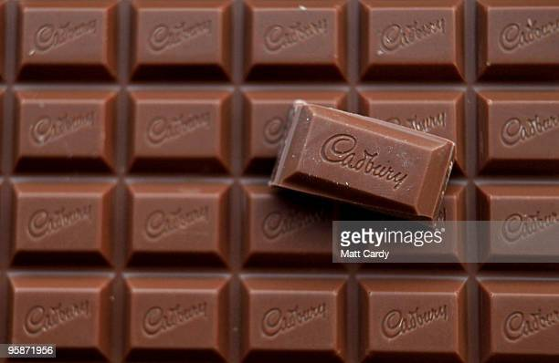 In this photograph illustration a bar of Cadbury's Dairy Milk chocolate is seen on January 19 2010 in Bristol England The US food giant Kraft has...
