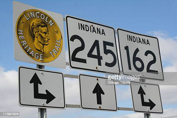 In this photograph signs indicate the Lincoln Heritage Trail in Spencer County Indiana