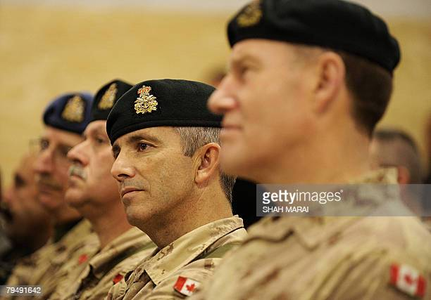 In this photograph taken 02 February 2008 Canadian soldiers with the NATOled International Security Assistance Force attend a Regional Command South...