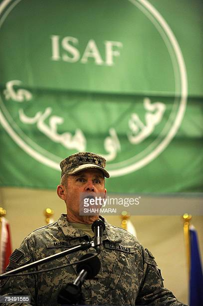 In this photograph taken 02 February 2008 US General Dan McNeill head of NATO's International Security Assistance Force attend a Regional Command...