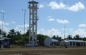In this photograph taken in June 2014 the tower of the airstrip is seen at Thitu island in the disputed Spratly islands in the South China sea The...