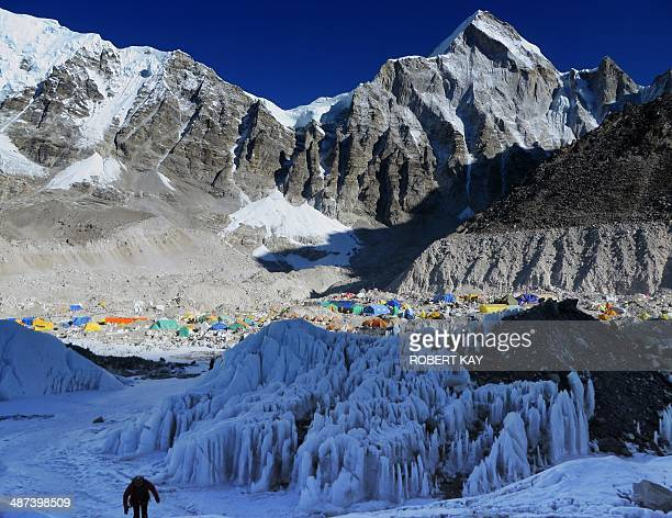 In this photograph taken on April 18 Everest Base Camp is seen from Crampon Point the entrance into the Khumbu icefall below Mount Everest following...