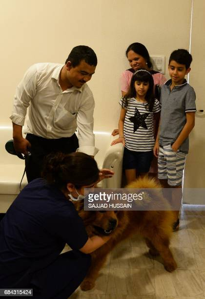 In this photograph taken on April 24 an Indian family arrives with their pet dog Muffin at the Renalvet clinic for animals in New Delhi Acupuncture...