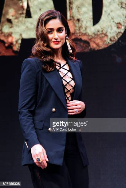 In this photograph taken on August 2017 Indian Bollywood actress Ileana D'Cruz poses for pictures during the trailer launch of the upcoming Indian...
