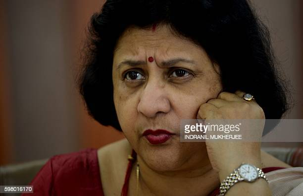 In this photograph taken on August 22 chairperson of the State Bank of India Arundhati Bhattacharya speaks during an interview with AFP in Mumbai The...