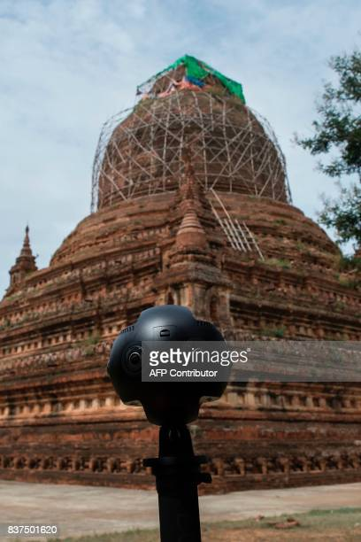 In this photograph taken on August 6 a 360video camera records the grounds of the crumbling 700yearold ancient city of Bagan Few countries in the...