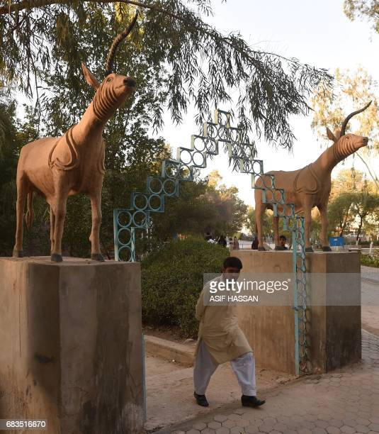 In this photograph taken on February 9 a Pakistani visitor walks out of the museum at the UNESCO World Heritage archeological site of Mohenjo Daro...