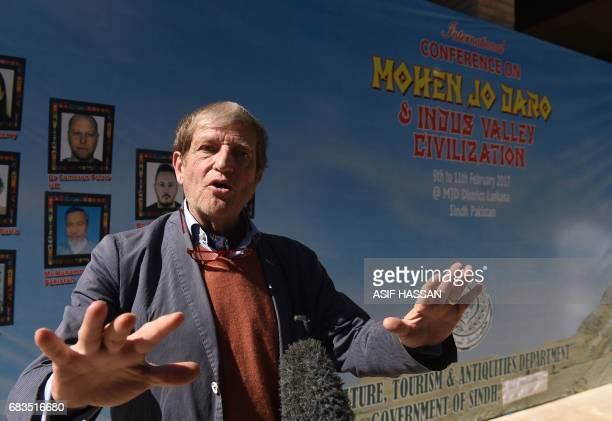 In this photograph taken on February 9 German researcher Michael Jansen talks to media near the UNESCO World Heritage archeological site of Mohenjo...