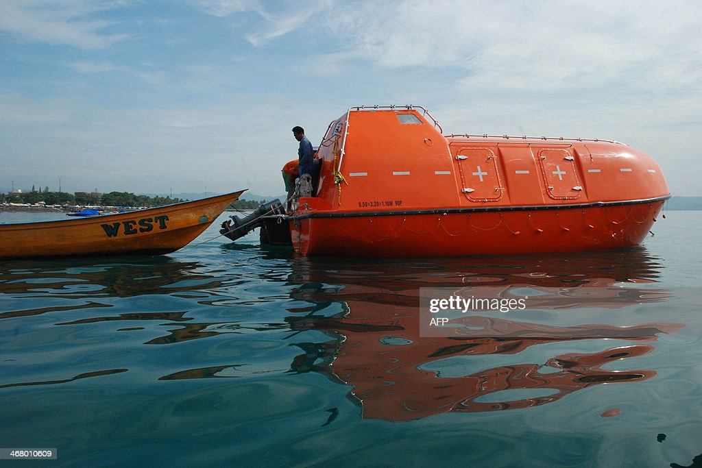 In this photograph taken on Februay 8 2014 an empty Australian lifeboat that carried asylum seekers turned back by Australian navy is docked at...