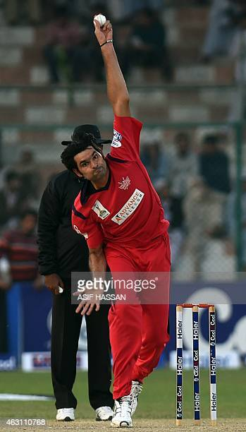 WITH 'CRICKETPAKWC 2015IRFAN' BY In this photograph taken on January 8 Pakistani cricketer Mohammad Irfan delivers a ball during a match at the...