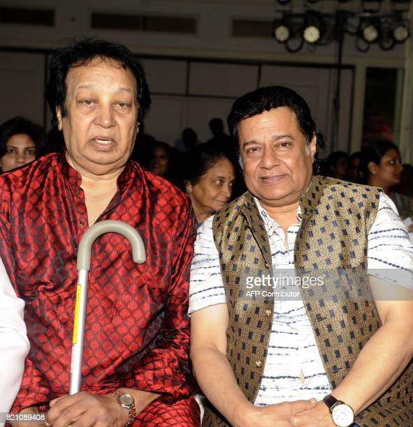 In this photograph taken on July 22 2017 Indian Bollywood singer Bhupinder Singh and ghazal bhajan singer Anup Jalota attend the Ghazal music...