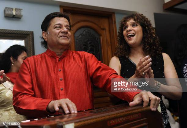 In this photograph taken on July 29 Indian Ghazal singer Penaz Masani performs during the 64th birhday celebrations of Ghazal and Bhajan singer Anup...