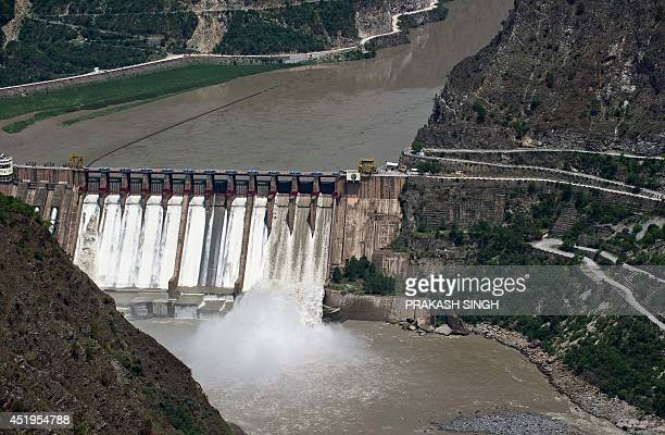 In this photograph taken on July 5 the Salal Hydro Power project dam on India's Chenab river is seen in Riasi India's new rightwing government under...