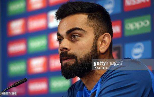 In this photograph taken on June 3 2017 shows India captain Virat Kohli attending a press conference at Edgbaston cricket ground in Birmingham ahead...