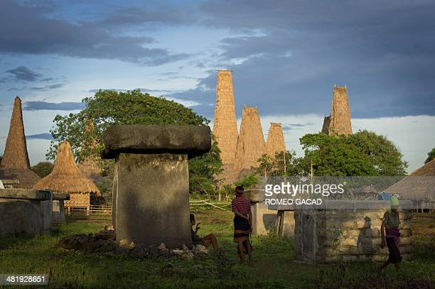 In this photograph taken on March 21 Sumbanese tribesmen gather around tombs in Ratenggaro village located in Indonesia's island of Sumba a day...